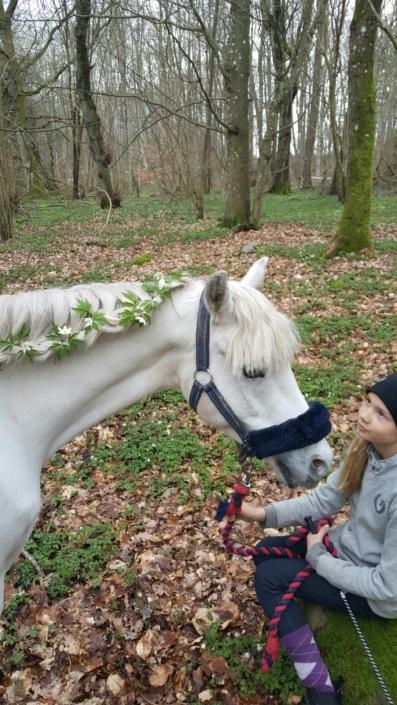 Sigrid och Miramis ute i skogen